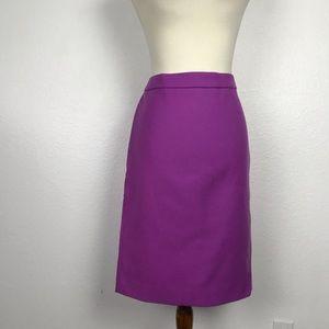 J. Crew Purple Wool Lined Pencil Skirt